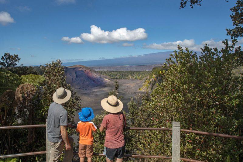 Visitors at Kīlauea Iki overlook