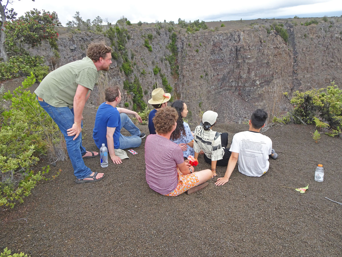 Visitors viewing Keanakakoi Crater from Crater Rim Trail side